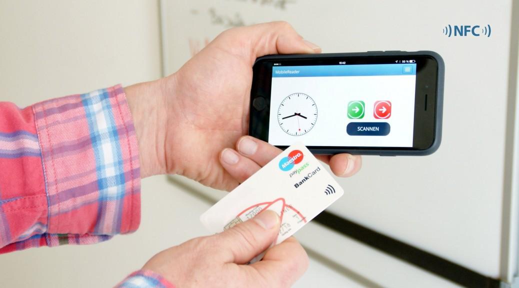 NFC Karte mit MobileReader mobile Zeiterfassung Projektzeiterfassung Auftragszeiterfassung App