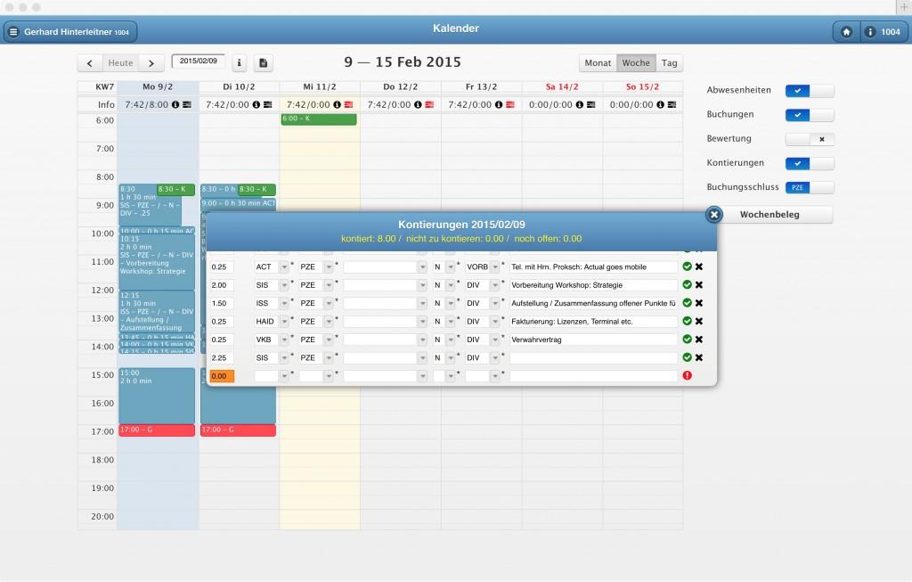 Arbeitszeiterfassung Projektzeiterfassung Benutzeroberfläche