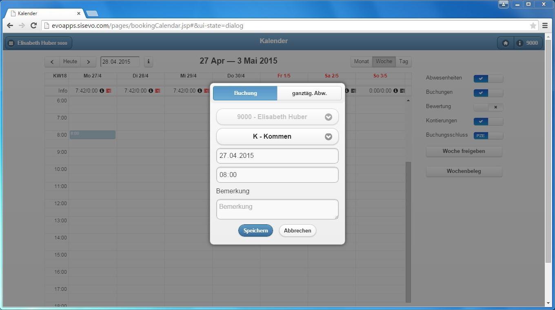 Benutzeroberfläche evoApps – Buchungsfenster Zeiterfassung