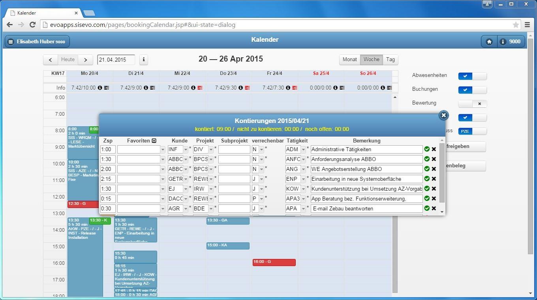 Benutzeroberfläche evoApps – Kontierung der Arbeitszeiten zu Kunden / Projekten