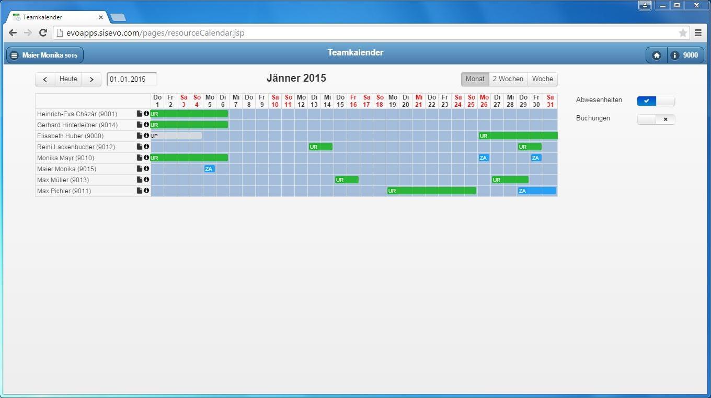 Benutzeroberfläche evoApps – der Teamkalender gibt einen Überblick über künftige Abwesenheiten im Team und ermöglicht dadurch eine optimale Schichtplanung