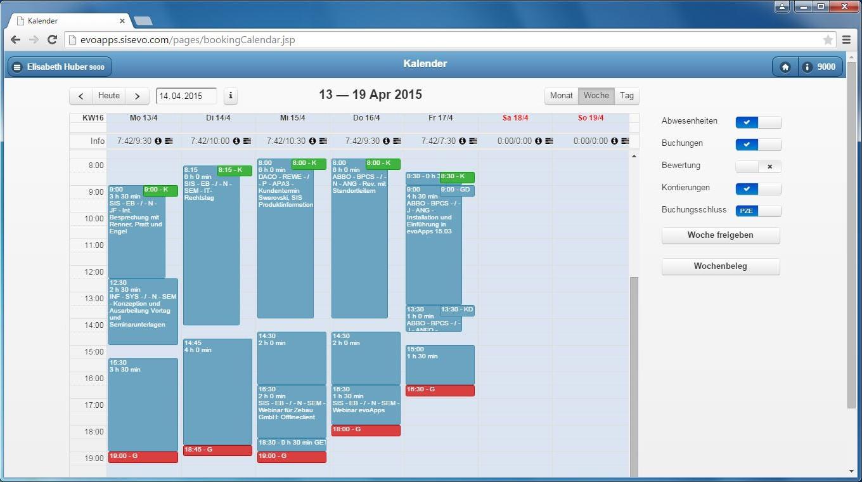Benutzeroberfläche evoApps – Wochenübersicht der Arbeitszeiten