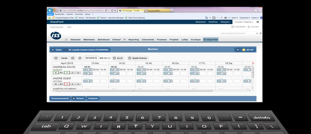Web-App für die Erfassung der IST-Zeiten im Intranet