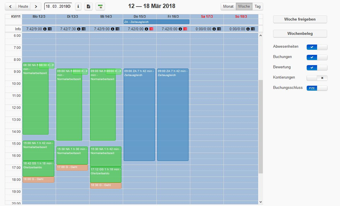 SIS-evoApps: Zeitbewertung in der Kalenderoberfläche