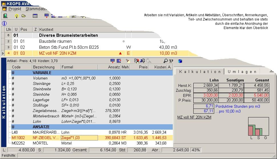 Kalkulation von SIS-KEOPS